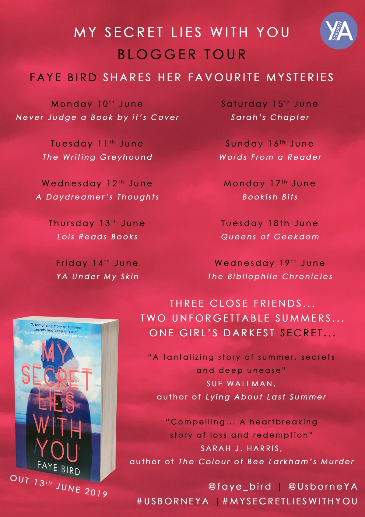 Blog Tour: My Secret Lies With You's Faye Bird shares her favourite mysteries